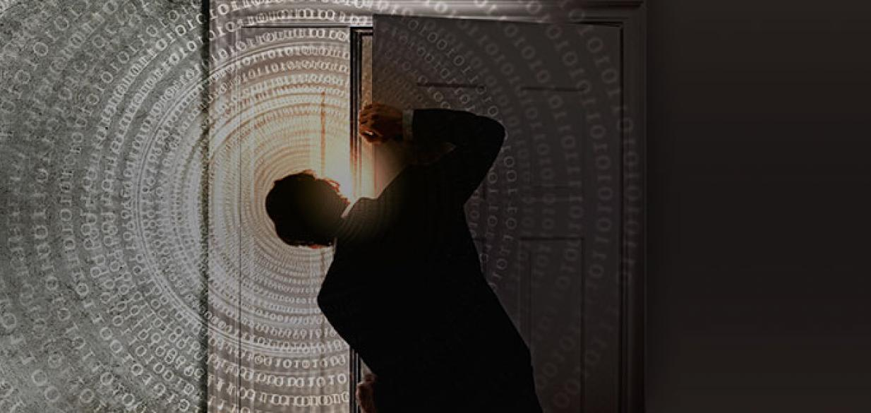 silhouette of a man peering out from behind a door, looking at a depiction of digital numbers